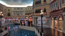 The replica of the Venetian canal is at the 2nd or 3rd floor of the hotel